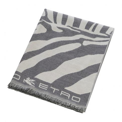 Etro - Parrish Zebra Fringed Throw - 140x180cm - Grey