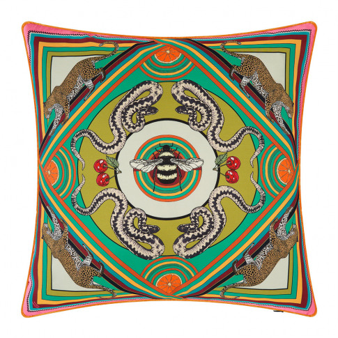 Silken Favours - Trippy Town Cushion - 45x45cm - Green