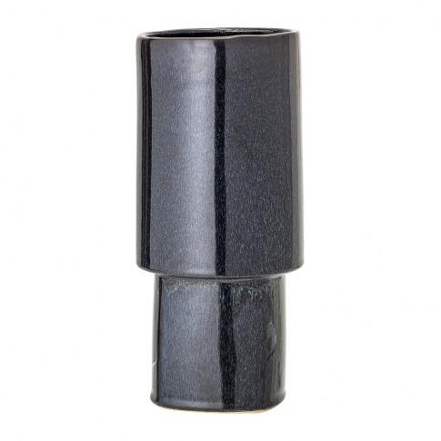 Bloomingville - Blue Cylindrical Stoneware Vase - 30cm