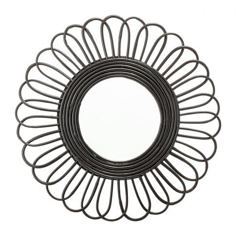Bloomingville - Round Cane Mirror - Black