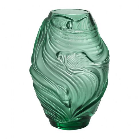 Lalique - Poissons Combattants Vase - Mint Green