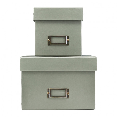 Monograph - Grey Storage Box with Lid - Set of 2 - S...