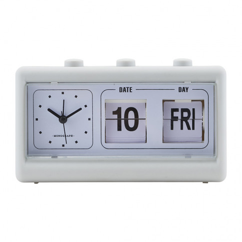 Monograph - Alarm Clock With Calendar - Retro Grey