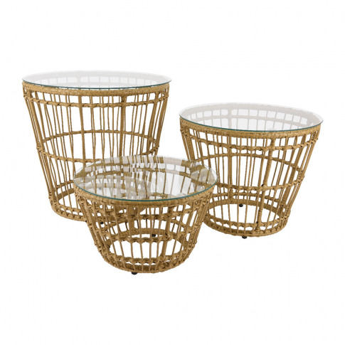 A By Amara - Corsica Wicker Side Table - Set Of 3