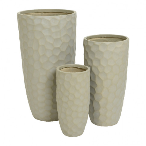 A By Amara - Tall Clay Plant Pot - Set Of 3 - Sand