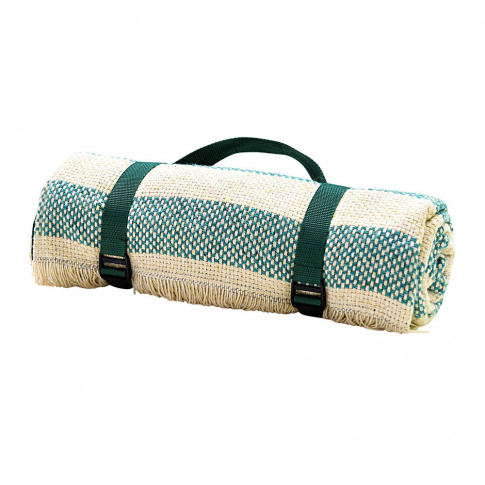 Tweedmill - Crosshatch Recycled Picnic Rug - Jade/Cr...