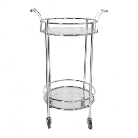 A By Amara - Silver Mirror Drinks Trolley - Round