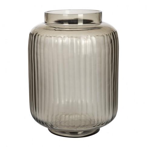 A By Amara - Striped Glass Vase - Smoke Grey