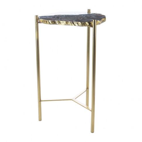 A By Amara - Agate Slab Side Table - Black