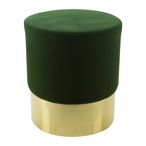 A By Amara - Round Velvet Stool - Green/Gold
