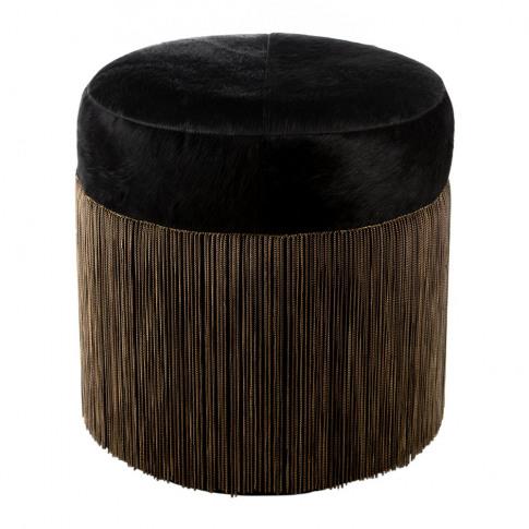 A By Amara - Cowhide Chain Pouf - Black/Copper