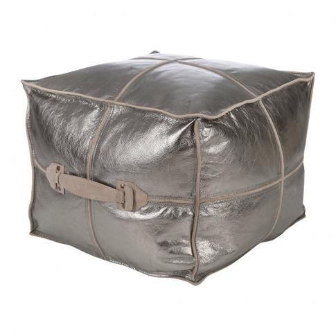 A By Amara - Metallic Leather Pouf - Silver