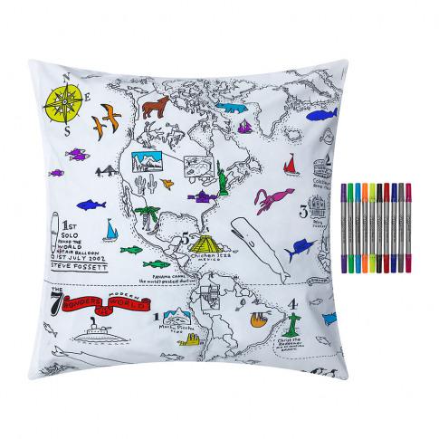 Eat Sleep Doodle - World Map Pillowcase - 65x65cm