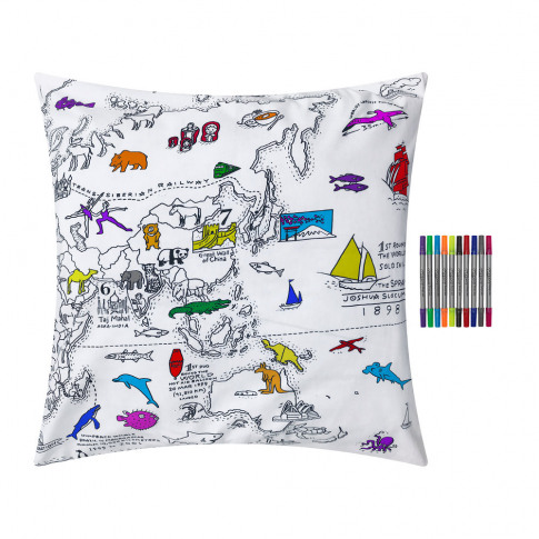 Eat Sleep Doodle - World Map Pillowcase - 80x80cm