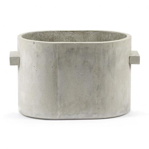 Serax - Concrete Oval Plant Pot - Grey - Small