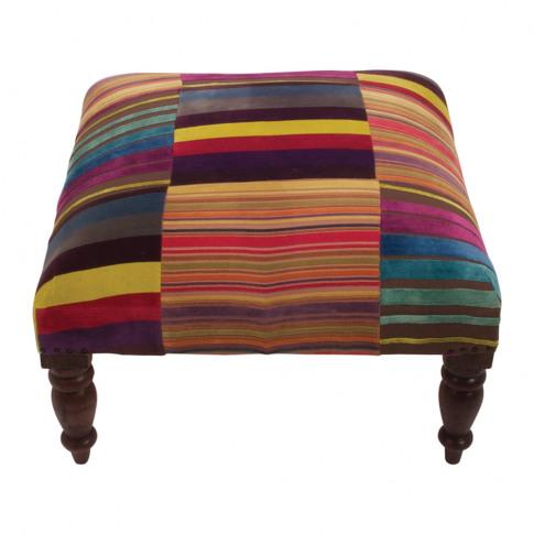 Ian Snow - Multi Stripe Velvet Footstool