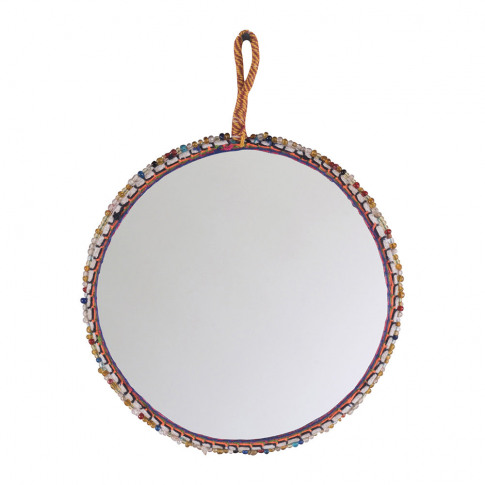 Ian Snow - Beaded Cotton Trim Round Mirror