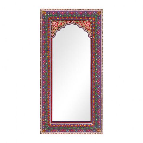 Ian Snow - Mehendi Work Arched Wooden Mirror - Purple
