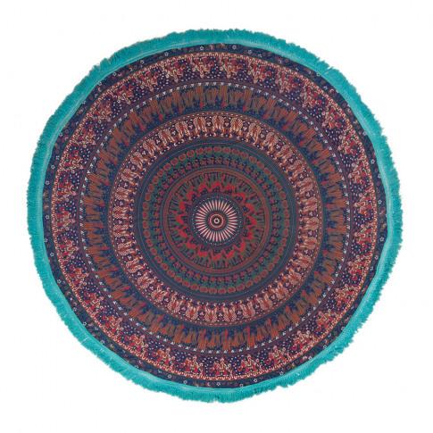 Ian Snow - Mandala Round Throw with Tassel Trim - Bl...