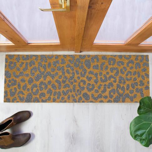 Artsy Doormats - Leopard Print Patio Doormat - Grey