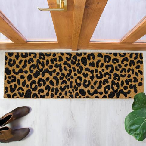 Artsy Doormats - Leopard Print Patio Doormat - Black