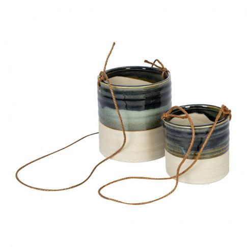 Ivyline - Milan Hanging Planter - Set Of 2 - Blue
