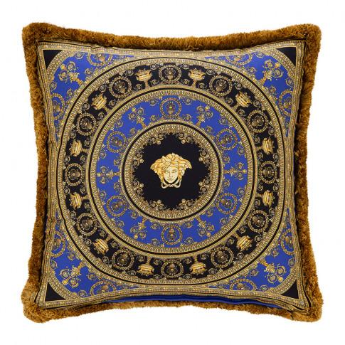Versace Home - I Love Baroque Silk Cushion - 50x50cm - Gold/Blue/Black