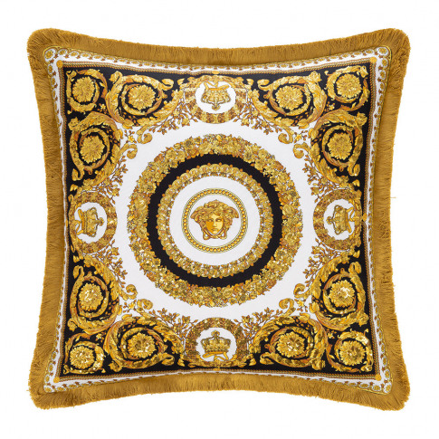 Versace Home - Crete De Fleur Cushion - Black/Gold/White - 50cm X 50cm