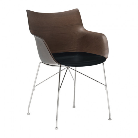 Kartell - Q/Wood Armchair - Dark Wood/Black/Chrome