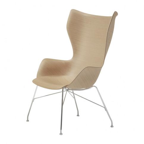 Kartell - K/Wood High Back Armchair - Light Wood/Chrome