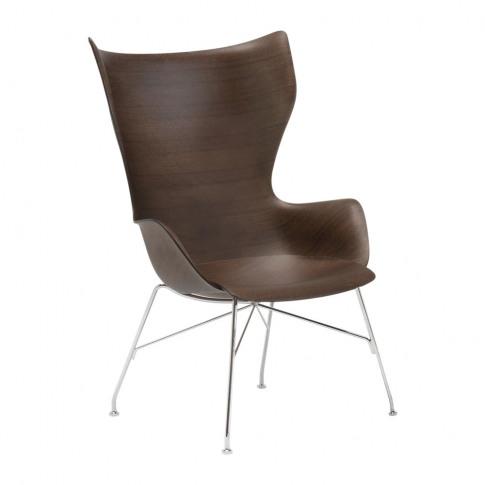 Kartell - K/Wood High Back Armchair - Dark Wood/Chrome