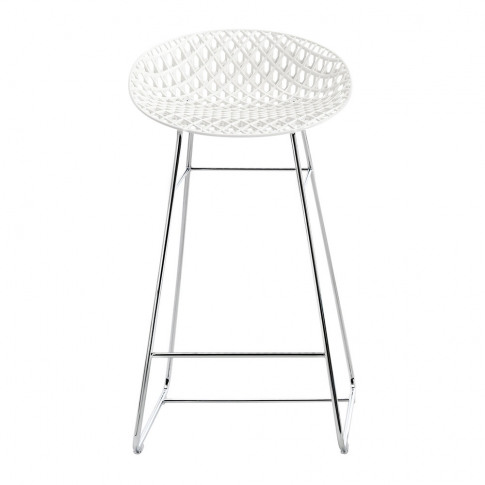 Kartell - Smatrik Bar Stool - White/Chrome