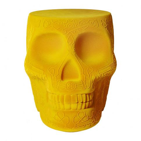 Qeeboo - Mexico Skull Velvet Stool/Side Table - Dark...