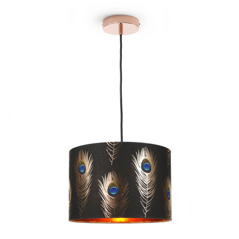 Mindthegap - Peacock Feathers Drum Ceiling Light - S...