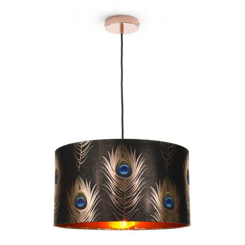 Mindthegap - Peacock Feathers Drum Ceiling Light - L...