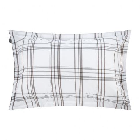 Gant - Sleek Check Pillowcase - Bark Brown - 50x75cm