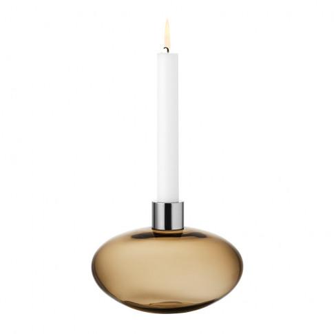 Orrefors Kosta Boda - Pluto Glass Candle Holder - Golden Brown