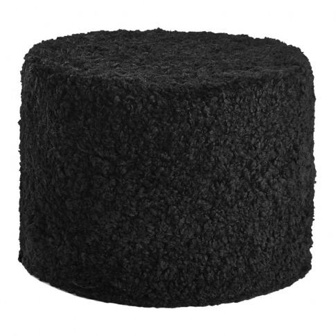 A By Amara - Short Wool Curly Pouf - Black