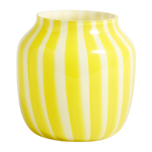 Hay - Wide Juice Striped Glass Vase - Yellow