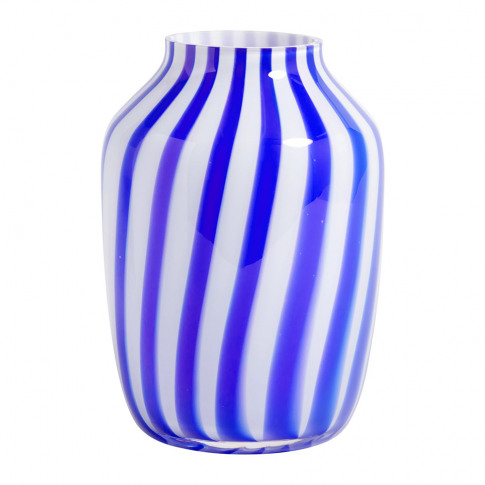 Hay - High Juice Striped Glass Vase - Blue