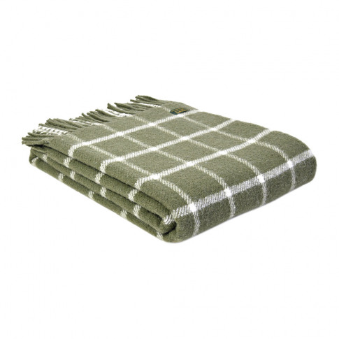 Tweedmill - Pure New Wool Chequered Throw - Olive