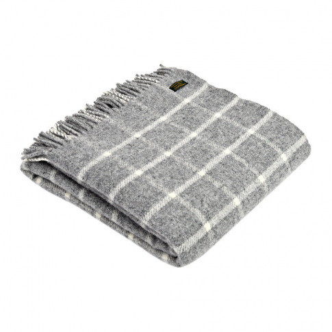 Tweedmill - Pure New Wool Chequered Throw - Grey