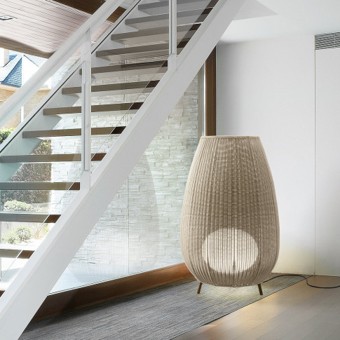 Bover - Amphora Rattan Floor Light - Beige