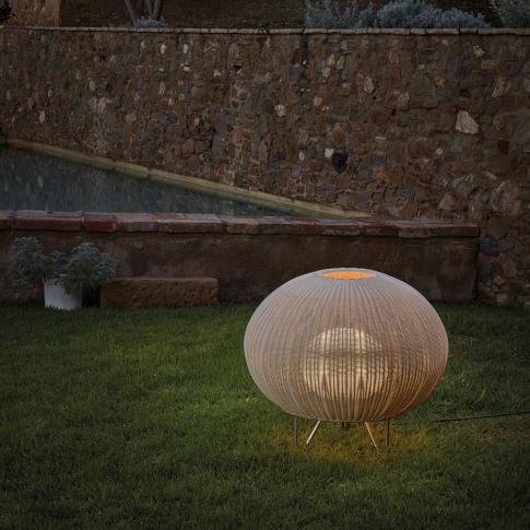 Bover - Garota Rattan Floor Lamp - Ivory