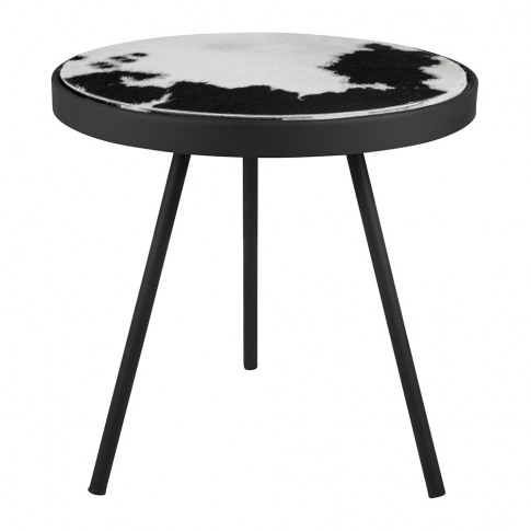 A By Amara - Cowhide Side Table - Black & White Spot