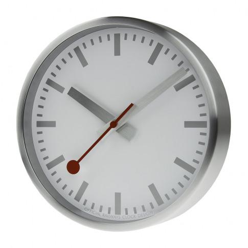 Mondaine Sbb - Classic Metal Wall Clock - Pure Silver