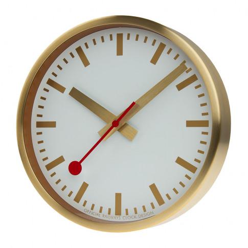 Mondaine Sbb - Classic Metal Wall Clock - Pure Gold
