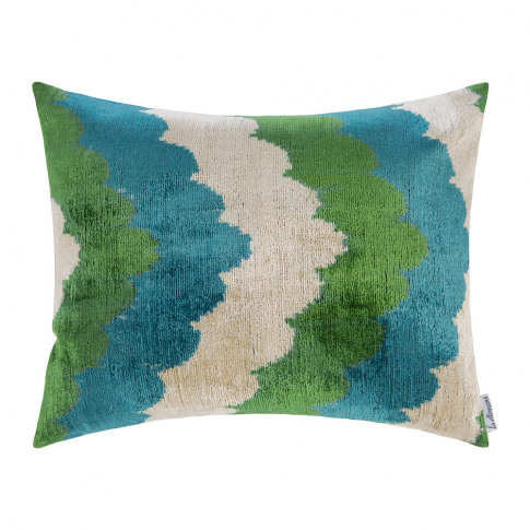 Les Ottomans - Velvet Cushion - 40x50cm - Green/Blue...