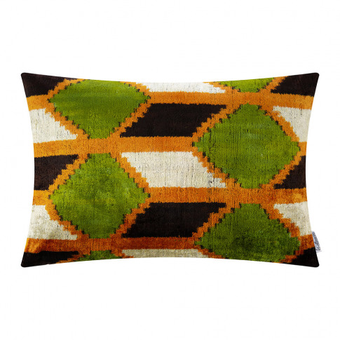 Les Ottomans - Velvet Cushion - 40x50cm - Green/Orange Diamond Pattern