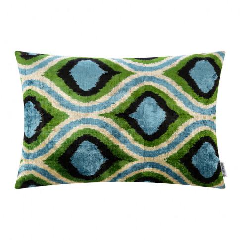 Les Ottomans - Velvet Cushion - 40x50cm - Blue/Green...